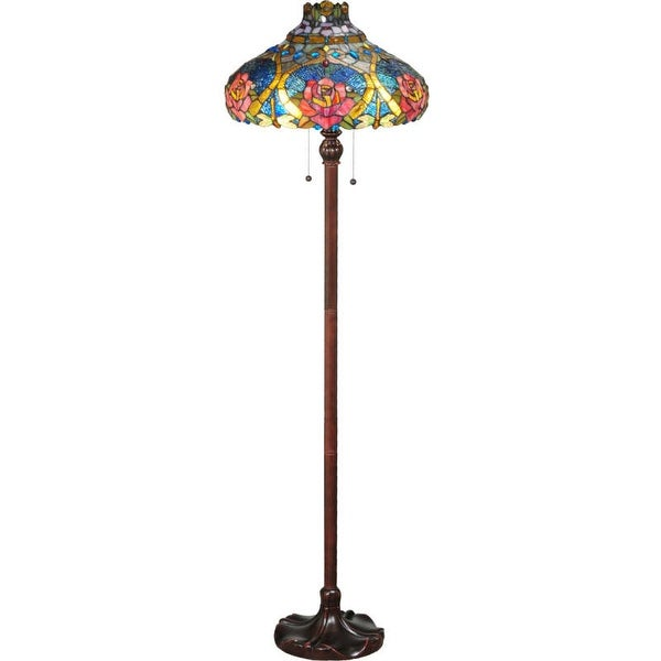 """Meyda Tiffany 138109 Dragonfly Rose 2 Light 60"""" Tall Hand-Crafted Floor Lamp with Stained Glass"""