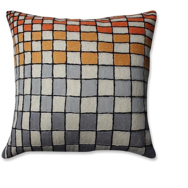 "16.5"" Cream White Slate Gray and Orange Checker Board Pattern Square Throw Pillow"