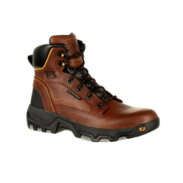 Georgia Boots Work Mens FLXPoint Lace Up Rubber Brown