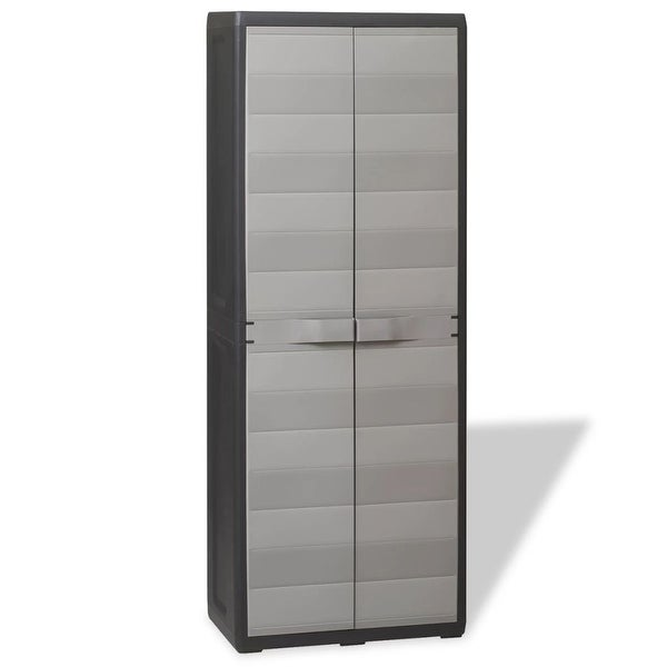 Vidaxl Garden Storage Cabinet With 3 Shelves Black And Gray