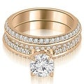1.45 cttw. 14K Rose Gold Knife Edge Matching Round Cut Diamond Bridal Set - Thumbnail 0