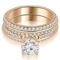 1.95 cttw. 14K Rose Gold Knife Edge Matching Round Cut Diamond Bridal Set - Thumbnail 0