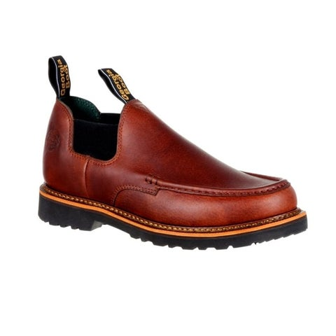 Georgia Boot Work Shoes Mens Giant Moc Toe Slip On Brown