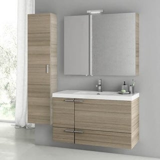 """Nameeks ANS179 ACF 39-1-5"""" Wall Mounted Vanity Set with Wood Cabinet, Ceramic Top with 1 Sink and 1 Mirror"""