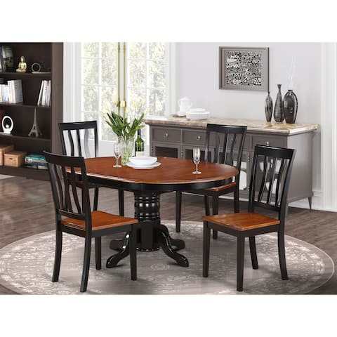 5-piece Dining Set - Oval Dining with Leaf and 4 Dining Chairs