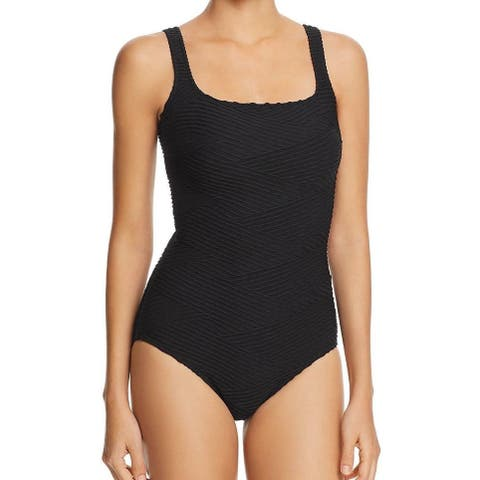 Gottex Black Women's Size 6 One-Piece Ribbed Solid Swimwear