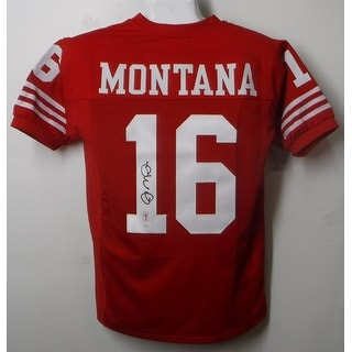 Joe Montana Autographed San Francisco 49ers Size XL Red Jersey Name Only JSA