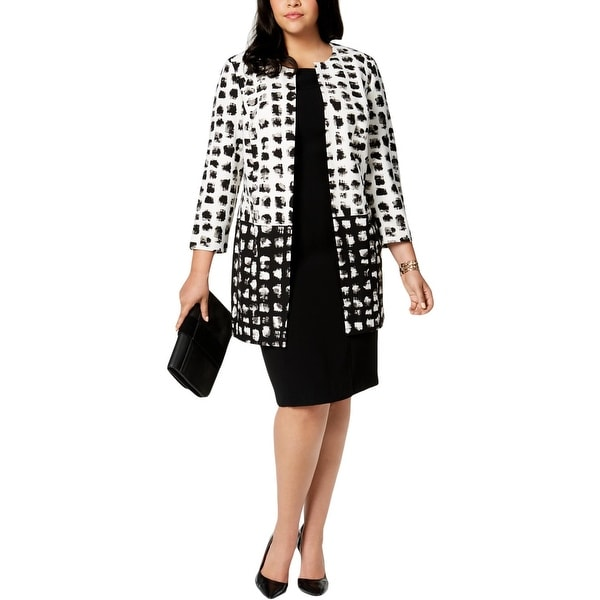 Kasper Womens Plus Jacket Open Front 3/4 Sleeve