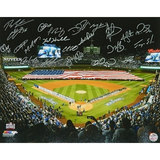 2016 Chicago Cubs Team 2016 World Series American Flag On Wrigley Field 16x20 Photo 23 Sigs