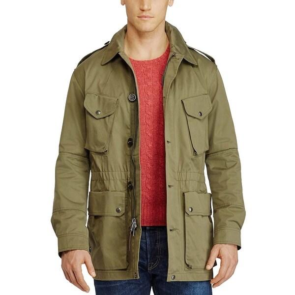 Polo Ralph Lauren Olive Green Cotton Blend Utility Jacket Large L
