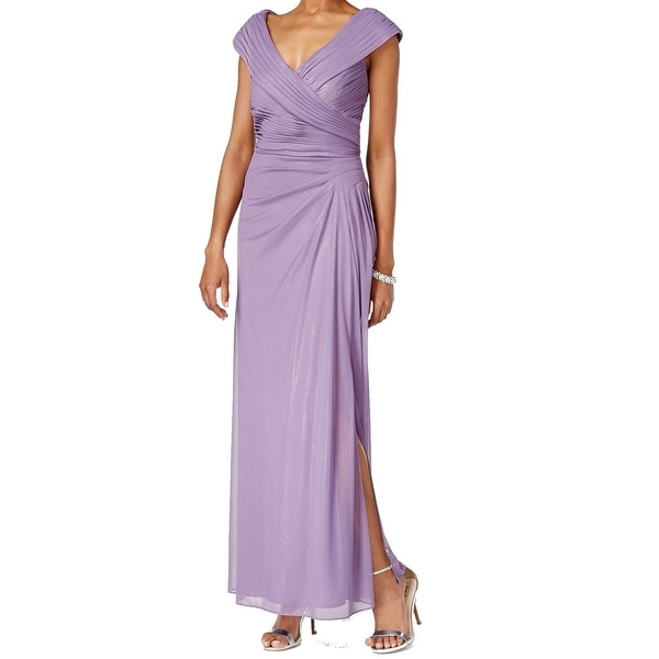 Alex Evenings NEW Purple Women's Size 12 Shimmer Pleated Ball Gown