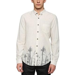Life After Denim Lightweight Shirt Large Palms Design Long Sleeves Buttoned