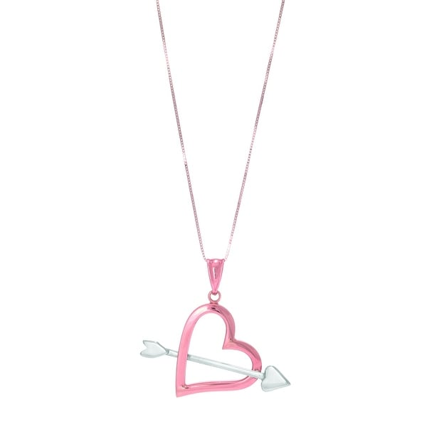 """Mcs Jewelry Inc 14 KARAT ROSE GOLD AND WHITE GOLD HEART AND ARROW PENDANT NECKLACE (18"""") - Multi"""