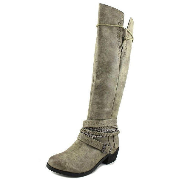 Not Rated Jurupa Women Round Toe Synthetic Gray Knee High Boot