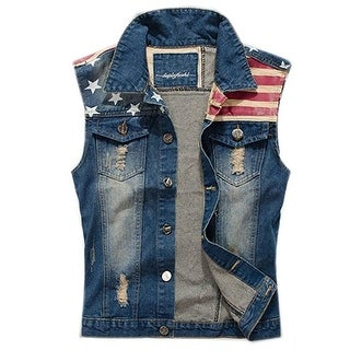 Men's Comfortable Slim Fit American Flag Demin Jacket Sleeveless Vest
