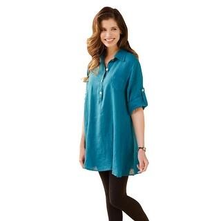 Women's Tunic Top - Classic Linen 3/4 Roll Tab Sleeves Shirt