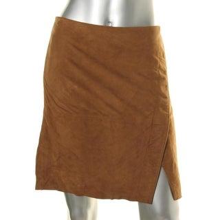 Lauren Ralph Lauren Womens Petites A-Line Skirt Suede Lined