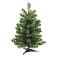 2' Pre-Lit LED Canadian Pine Artificial Christmas Tree - Multi Lights - green