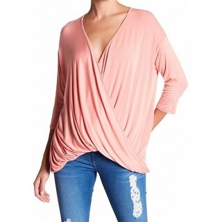 Michael Stars NEW Pink Womens Size Small S Drape Surplice Knit Top