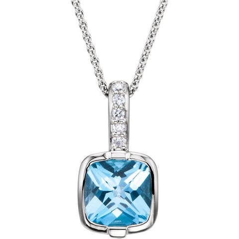 """14K White Gold Swiss Blue Topaz & 0.5 CTW Diamond 18"""" Necklace"""