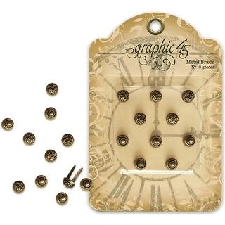Staples Ornate Metal Brads 10mm 10/Pkg-Shabby Chic