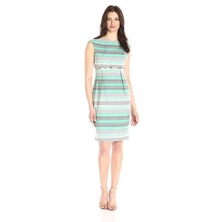Calvin Klein Cap Sleeve Belted Striped Sheath Dress - 4