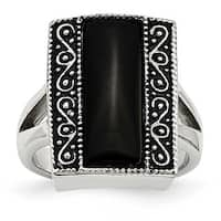 Chisel Stainless Steel Black Onyx Antiqued Rectangular Ring (17 mm)