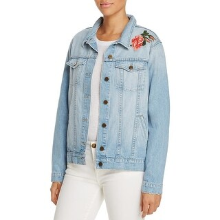 Sanctuary Womens Jean Jacket Embroidered Long Sleeve