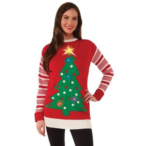 Christmas Tree Light-Up Adult Ugly Christmas Sweater