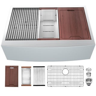 Link to 30 Inch Farmhouse Sink Apron Front Ledge Workstation 16 Gauge Stainless Steel Single Bowl Luxury Kitchen Farm Sink Similar Items in Sinks
