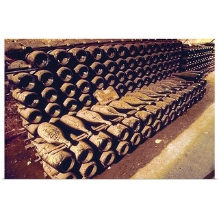 """Antique wine bottles in cellar"" Poster Print"