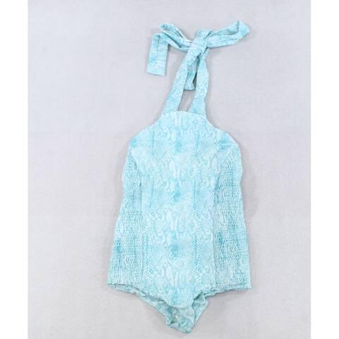 Tori Praver Blue Womens Size XS Shirred Printed One-Piece Swimwear