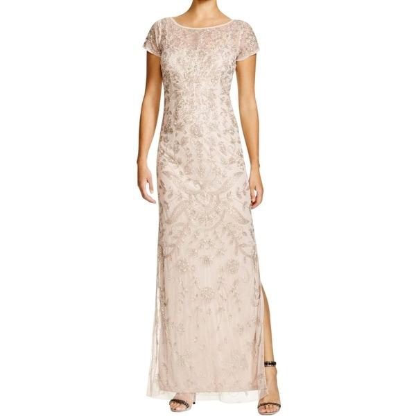 Aidan Mattox Womens Evening Dress Mesh Beaded