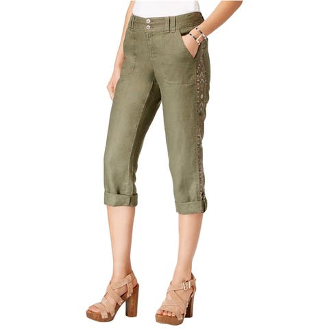 I-N-C Womens Embellished Casual Cargo Pants, green, 0 Medium