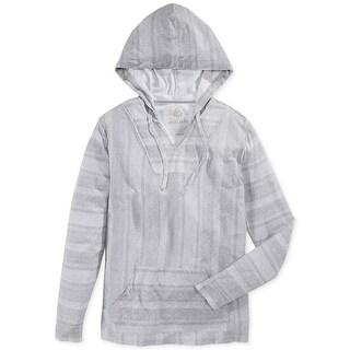 American Rag City Baha Mens Striped Sweatshirt Pale Waters Gray Medium M