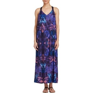 Aqua Womens Maxi Dress Printed V-Neck