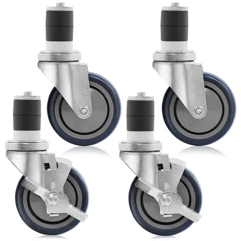 "4"" Caster Wheel Set for Kitchen Prep Tables -2 Wheels with Brakes & 2"