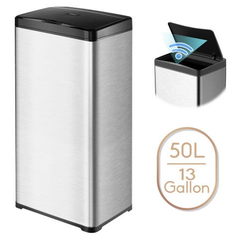 13 Gallon Automatic Trash Can Stainless Steel Touchless Motion Sensor Bin Soft Close Lid 50L LED Timer Compact Design