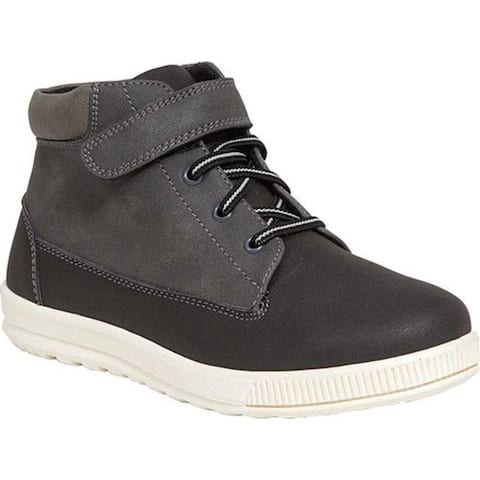 Deer Stags Boys' Niles High Top Sneaker Black/Grey Simulated Leather