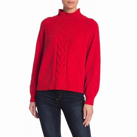 Abound Women Red Size Medium M Long Sleeve Chenille Cable Knit Mock Sweater