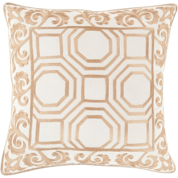 """22"""" Sepia Brown and Linen White Geometric & Scroll Print Throw Pillow-Down Filler"""