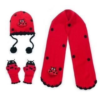 Kidorable Girls Red Ladybug Hat Scarf Gloves Handmade Winter Set 3-11