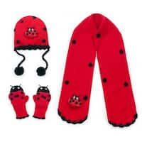 Girls Red Ladybug Hat Scarf Gloves Handmade Winter Set