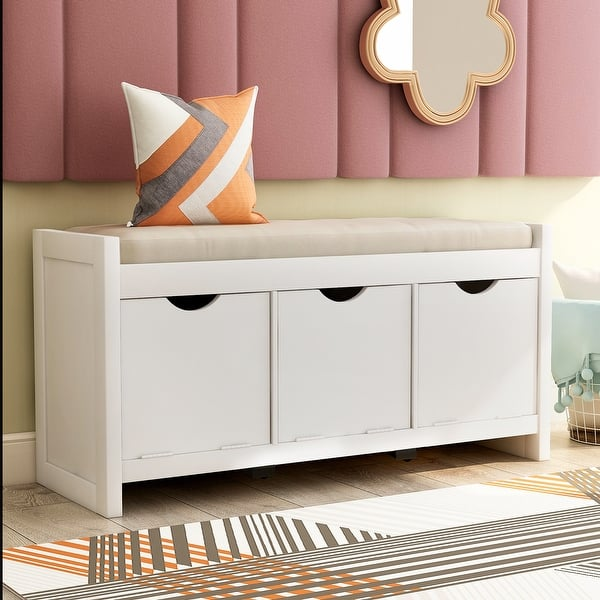 Moda Storage Bench With Removale Cushion And 3 Flip Lock Storage Cubbies For Living Room - Overstock - 32813303