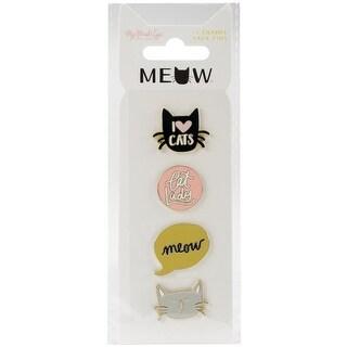 Meow Enamel Painted Pins 4/Pkg-