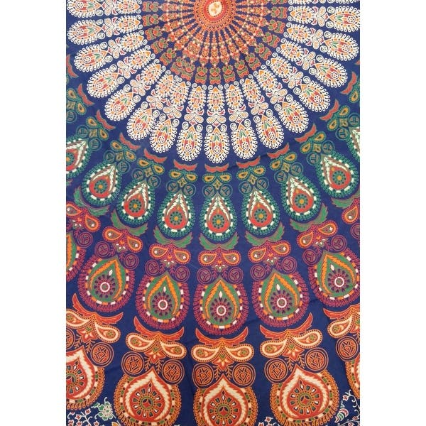 Handmade Sanganer Peacock Mandala 72 Round Cotton Tablecloth Gorgeous Blue Green Red Overstock 12276406 72 Inches Round Multi Color