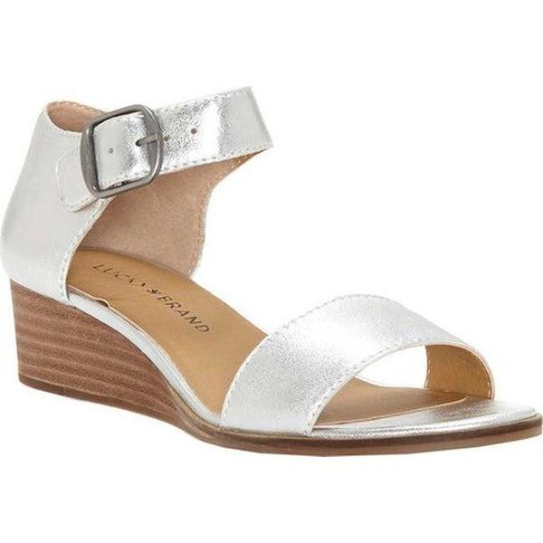 21eb4c7e51e Shop Lucky Brand Women s Riamsee Wedge Sandal Platinum Leather ...