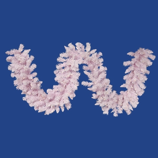 """9' x 14"""" Pre-Lit Flocked Cupcake Pink Christmas Garland - Clear LED Lights"""