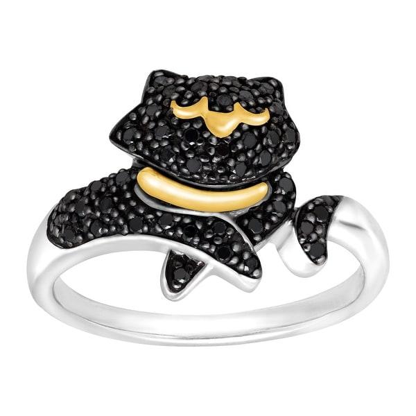 1/5 ct Black Diamond Cat Ring in Sterling Silver & 14K Gold