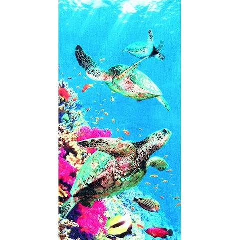 Coral Turtles 30x60 Brazilian Velour Beach Towel